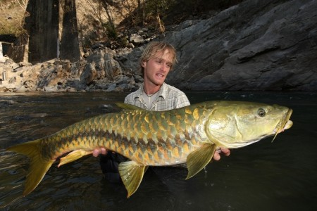 Jakub Vagner with Golden mahseer, Ramganga river